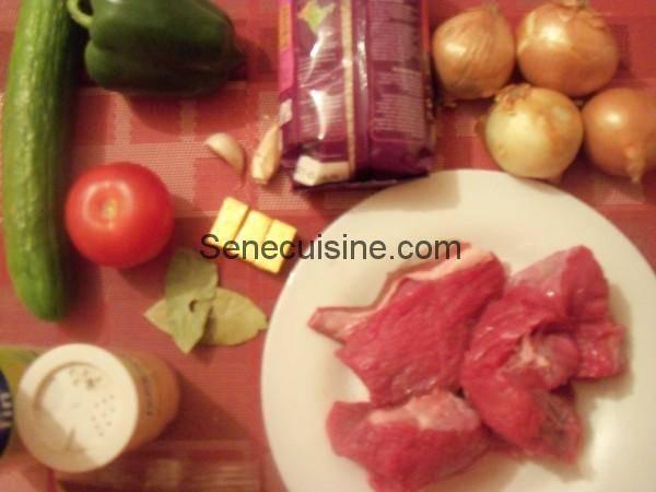 Ingrédients préparation Riz à la viande