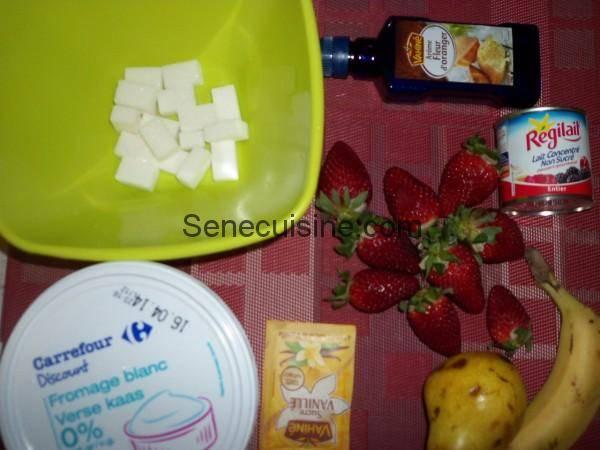 Ingrédients préparation salade de fruits