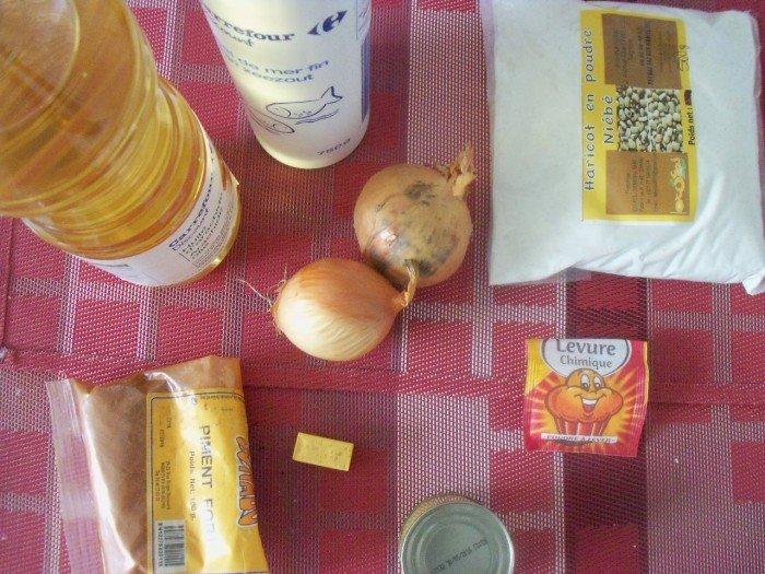 Ingrédients préparation accras de niébé