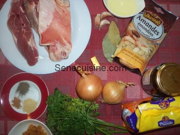 Ingrédients Tajine d'agneau