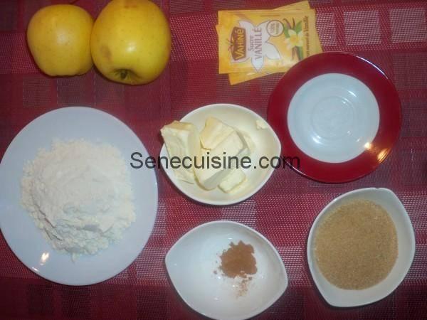 Ingrédients pour crumble aux pommes