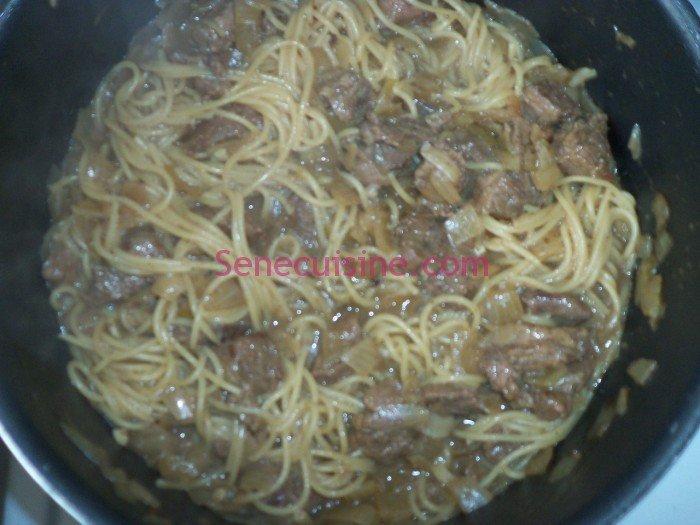 Préparation spaghettis à la viande 8
