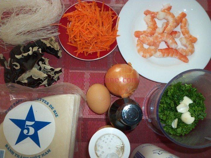 Ingrédients nems aux crevettes