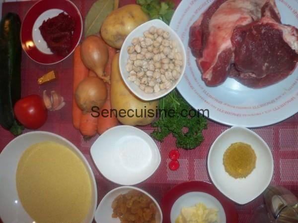 Ingrédients pour préparation Couscous d'agneau