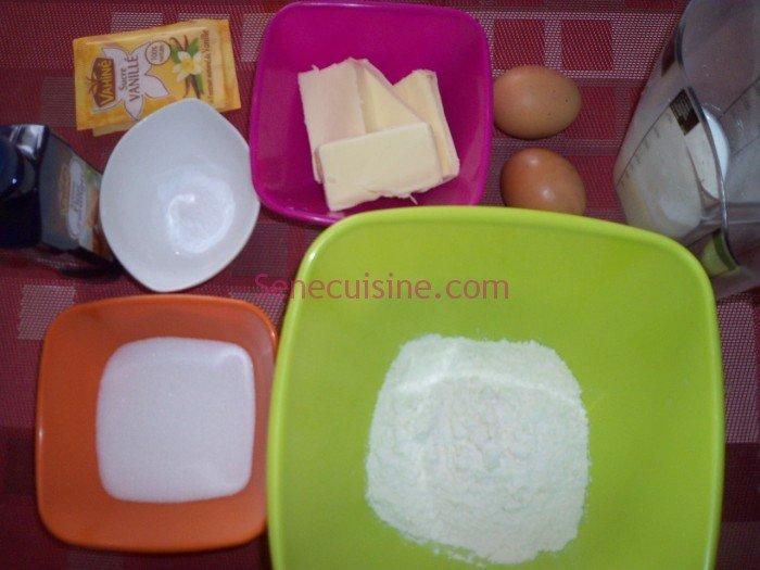 Ingrédients préparation madeleines