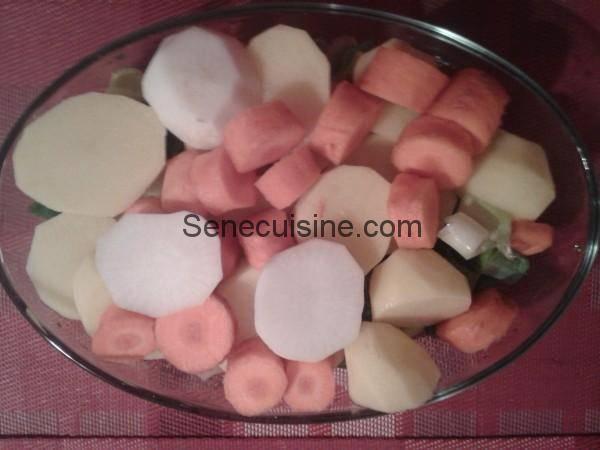 Légumes découpés pour Soupe de viande