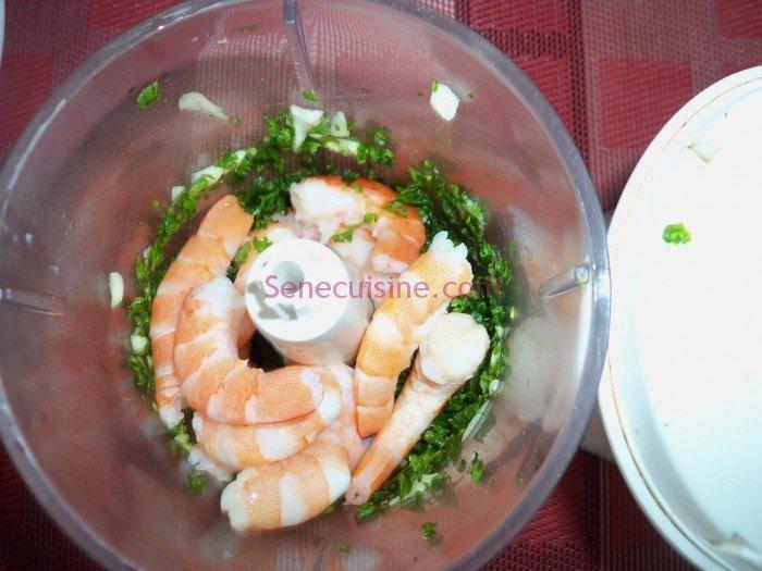 Préparation farce nems aux crevettes 2