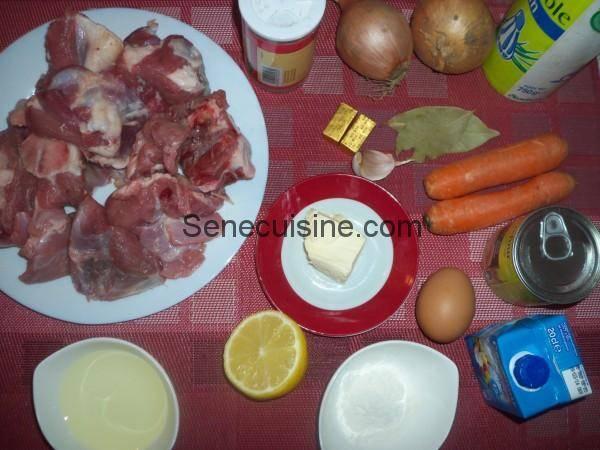 Ingrédients Blanquette de veau