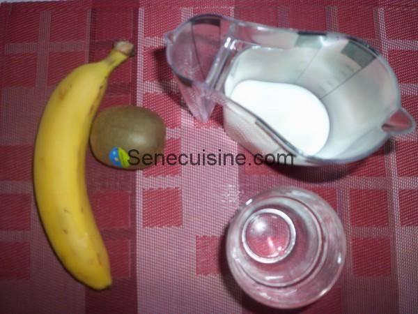Ingrédients smoothies Kiwi banane lait