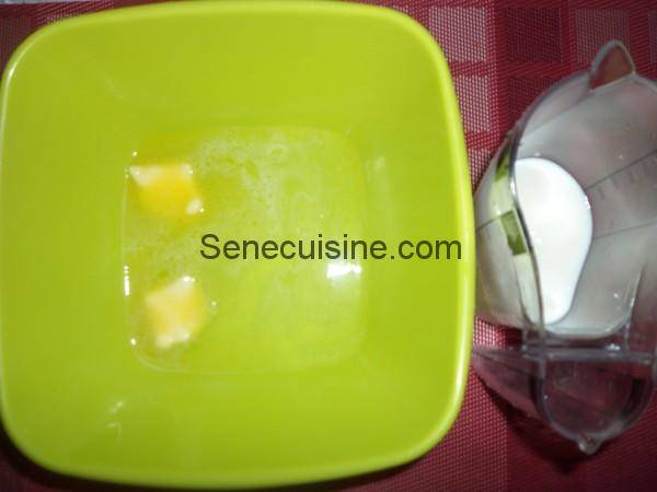 Lait et beurre pour préparation purée