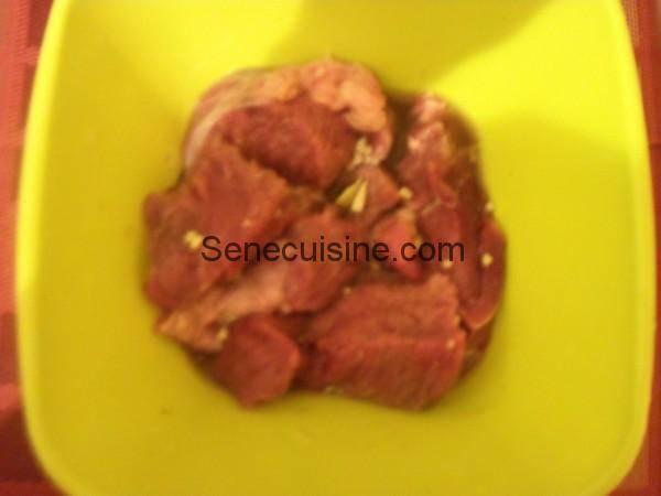viande marinée pour boeuf bourguignon