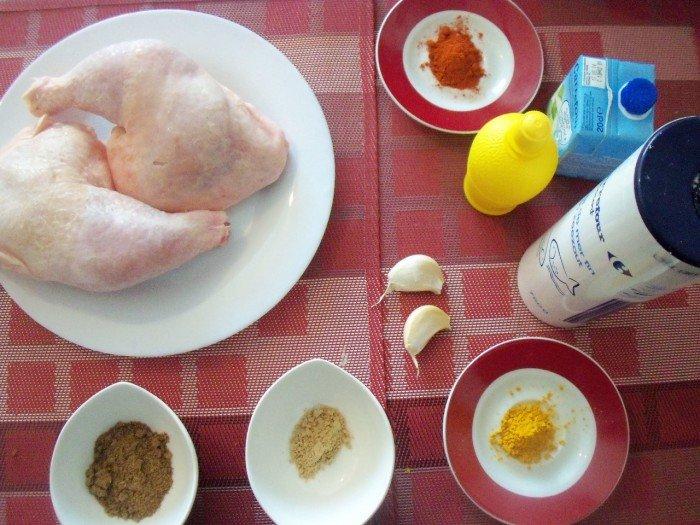 Ingrédients poulet tandoori