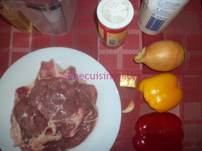Ingrédients préparation sauté agneau