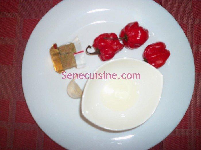 Ingrédients préparation purée piment