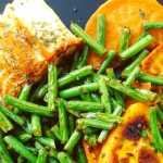 Saumon aux patates douces sautées et haricots