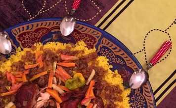 Yassa au poulet et riz au safran